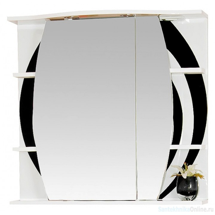 Зеркало-шкаф Misty Каролина 80 R черный П-Крл02080-235СвП