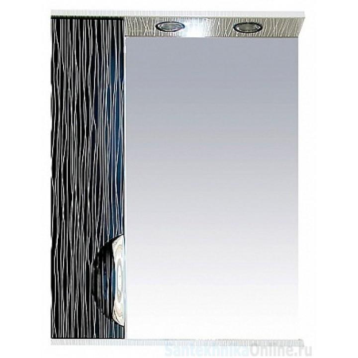 Зеркало-шкаф Misty Лорд - 55 зеркало-шкаф (свет) лев.(комб.бело-черн) П-Лрд04055-232СвЛ