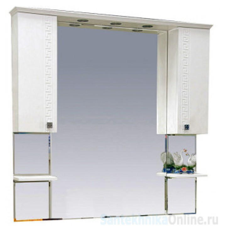 Зеркало-шкаф Misty Олимпия -120 Зеркало - шкаф белое фактурное П-Оли02120-012