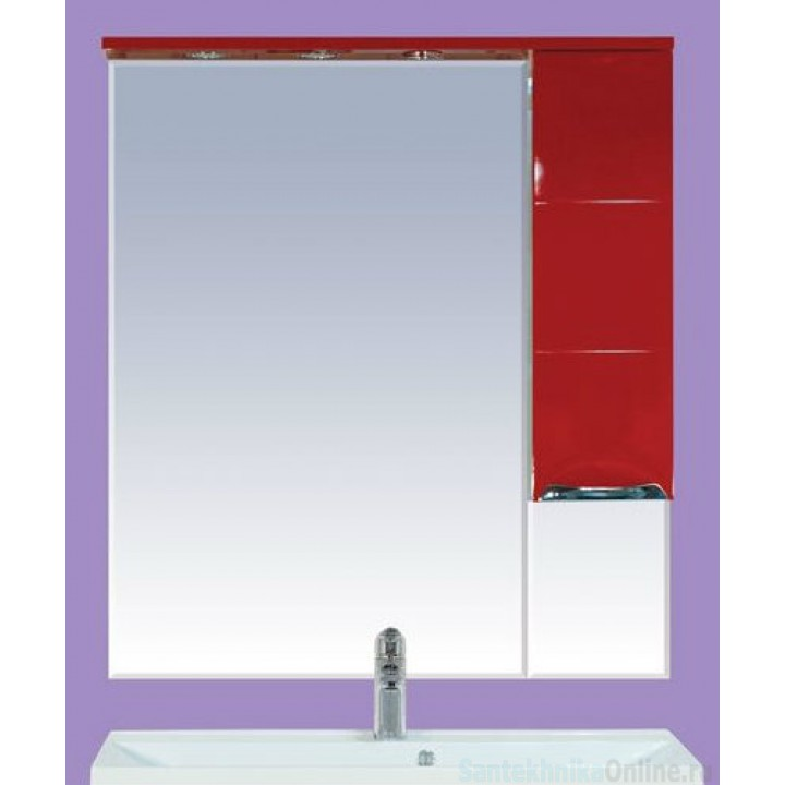 Зеркало-шкаф Misty Петра 75 R красный П-Пет04075-041СвП