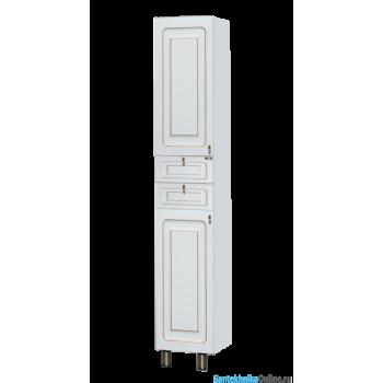 Шкаф-пенал Misty Вояж - 35 Пенал левый белая патина с Б/К П-Воя05035-013БкЛ