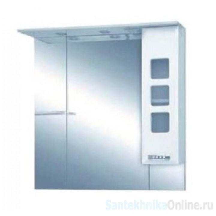 Зеркало-шкаф Misty Квадро -105 Зеркало - шкаф (свет) белая эмаль П-Ква02105-011Св