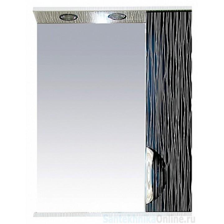 Зеркало-шкаф Misty Лорд - 55 зеркало-шкаф (свет) прав.(комб.бело-черн П-Лрд04055-232СвП