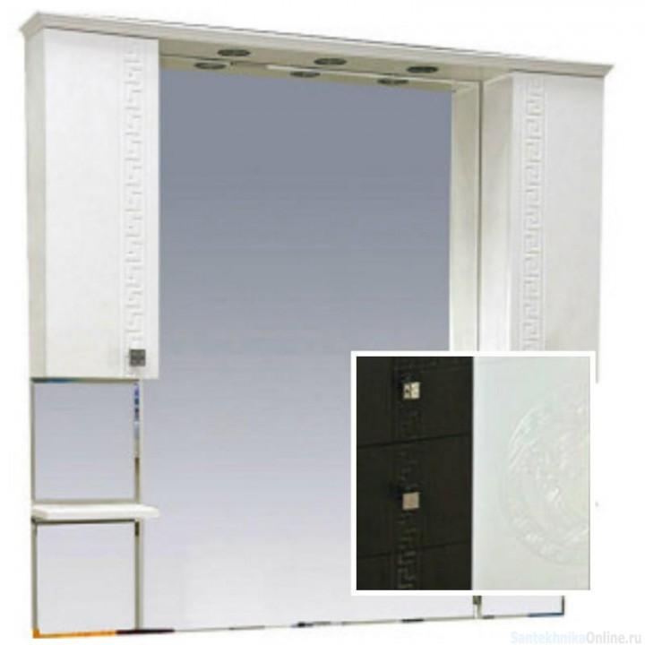 Зеркало-шкаф Misty Олимпия -120 Зеркало - шкаф комбинированное венге/белый П-Оли02120-252