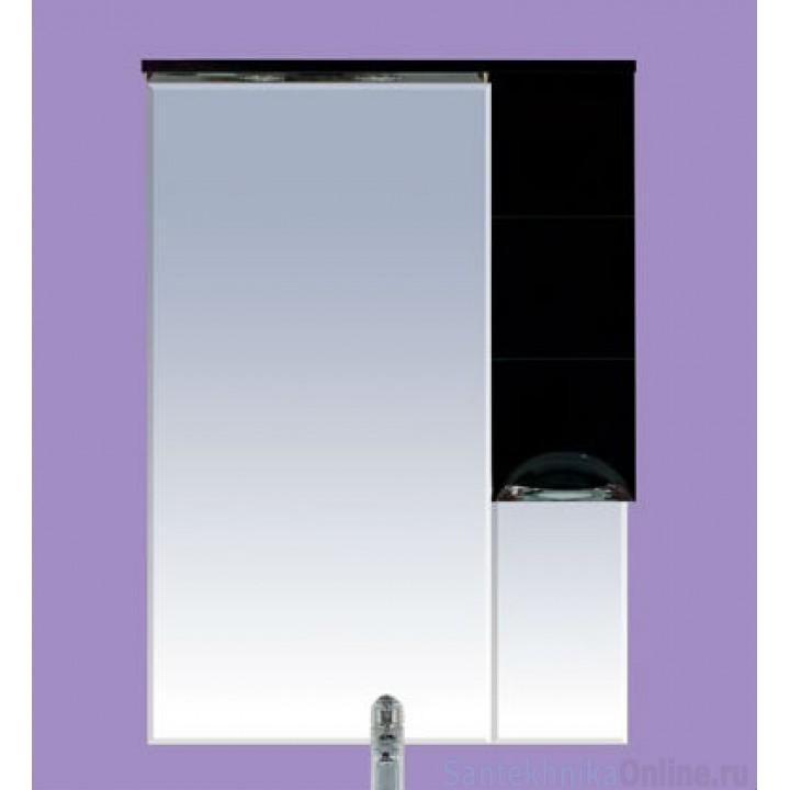Зеркало-шкаф Misty Петра 75 R черный П-Пет04075-021СвП