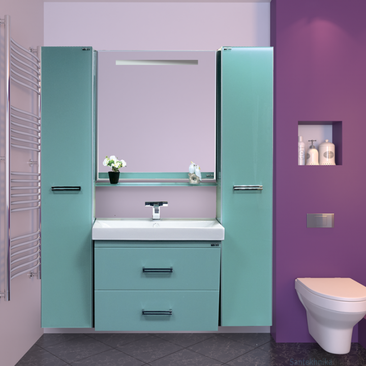 Зеркала Misty Джулия - 85 Зеркало с полочкой 12 мм голубое Л-Джу03085-0610