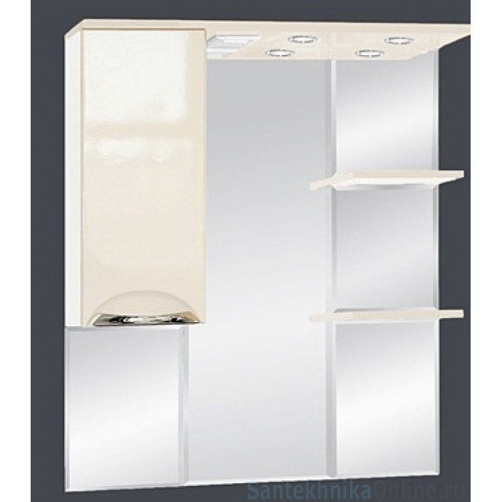 Зеркало-шкаф Misty Жасмин 85 L бежевый П-Жас02085-031СвЛ