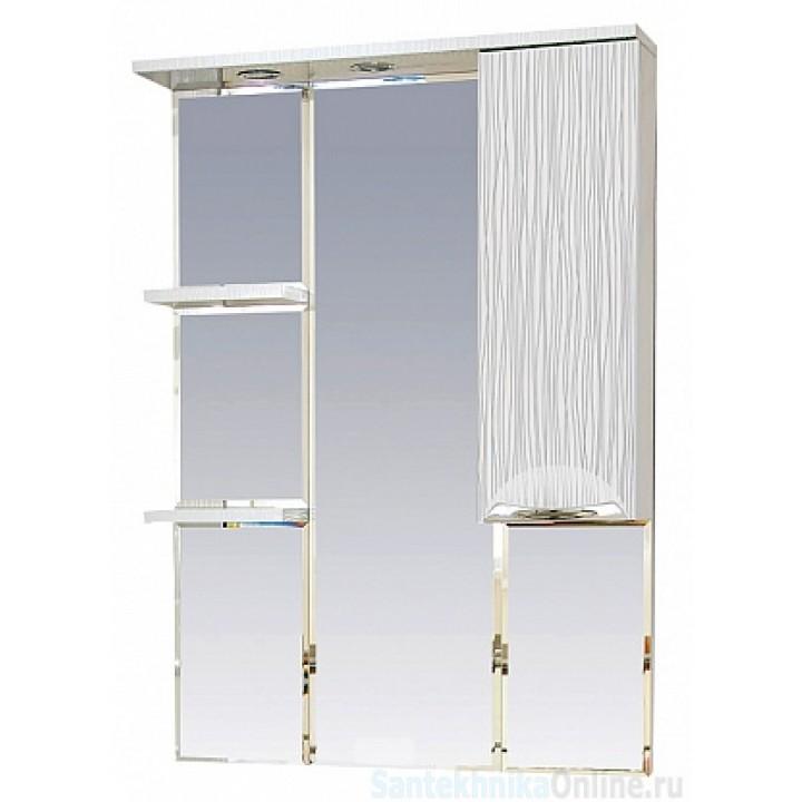 Зеркало-шкаф Misty Лорд - 75 зеркало-шкаф (свет) прав.(белая пленка) П-Лрд04075-012СвП