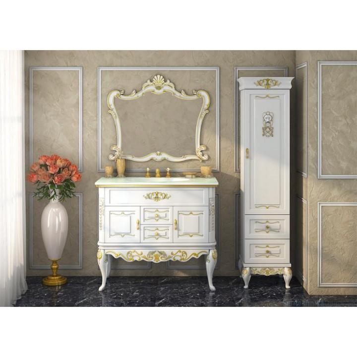 Шкаф-пенал Misty Bianco 40 R белый сусальное золото Л-Бья05040-391П
