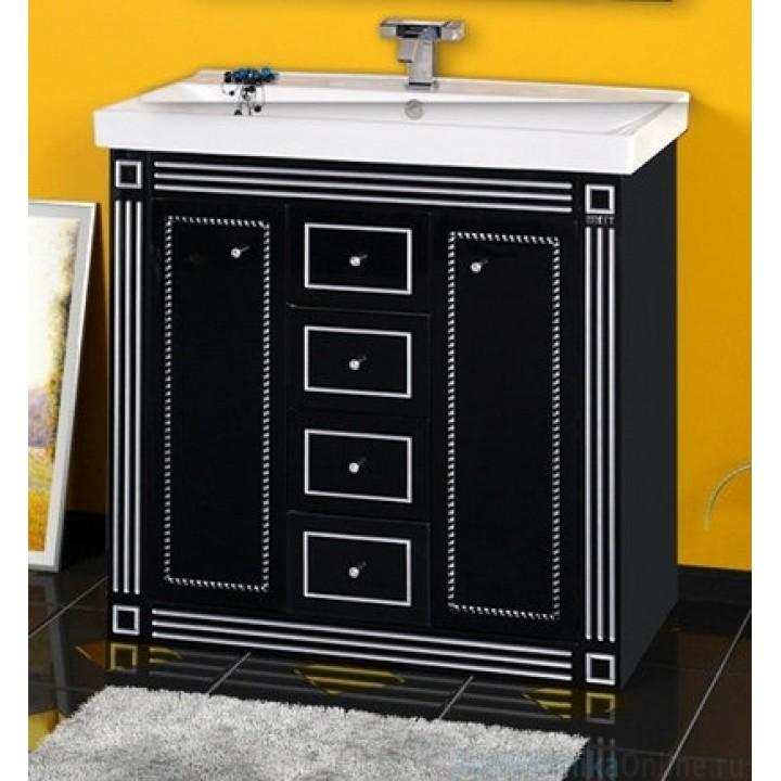 Тумба под раковину Misty Venezia 120 черная с серебром Л-Внц01120-5534Я