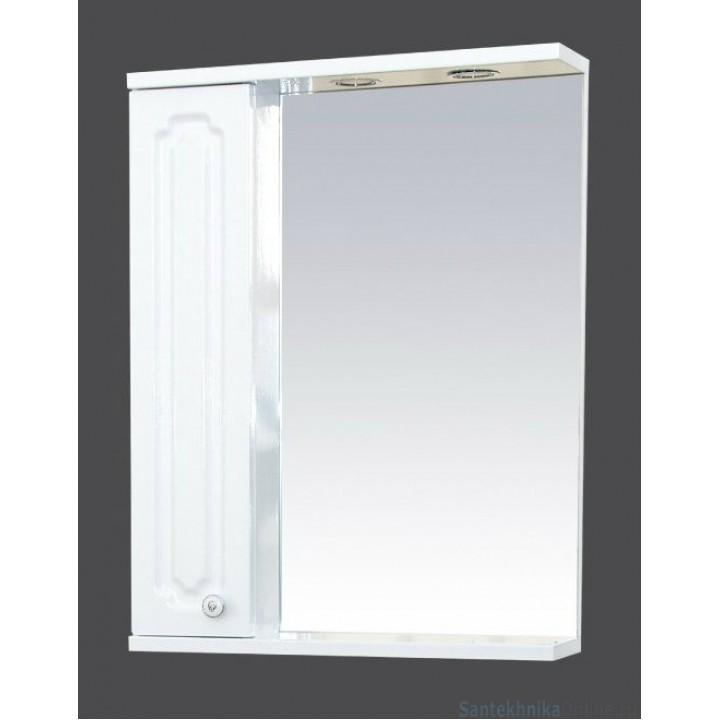 Зеркало-шкаф Misty Александра - 55 зерк-шкаф лев.(свет) белый мет П-Але04055-352СвЛ