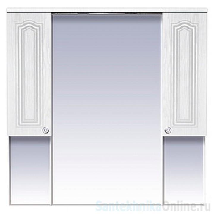Зеркало-шкаф Misty Валерия -105 зеркало-шкаф белое фактур. со светом П-Влр04105-37Св