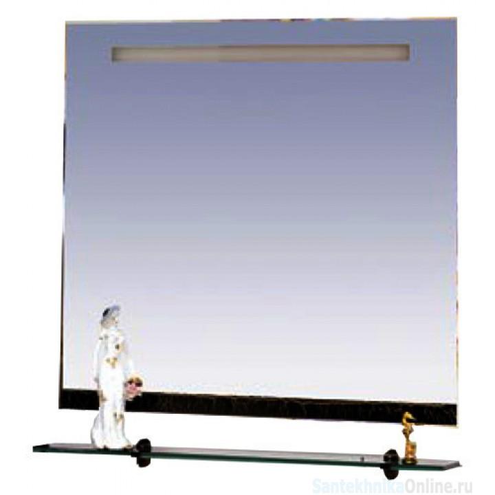 Зеркала Misty Джулия - 75 Зеркало с полочкой 12 КРАКОЛЕТ черный Л-Джу03075-0213