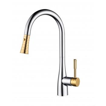 Смеситель для кухни D&K Rhein.Schiller с выдвижной лейкой хром золото DA1462504A