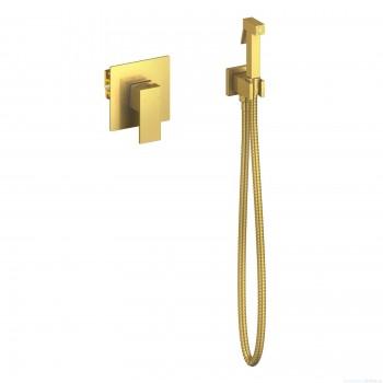 Смеситель встроенный с гигиеническим душем Timo Selene золото матовое 2089/17SM