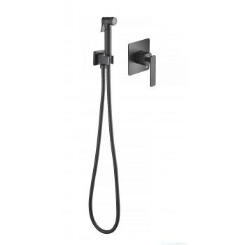 Смеситель встроенный с гигиеническим душем Timo Torne черный 4389/03SM