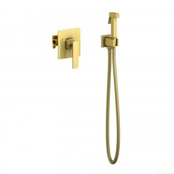 Смеситель встроенный с гигиеническим душем Timo Torne 4389/17SM золото матовое