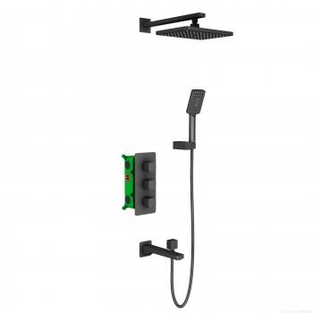 Душевая система встроенная с термостатом Timo Petruma SX-5049/03SM черный