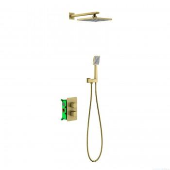 Душевая система встроенная с термостатом Timo Petruma SX-5059/17SM золото матовое