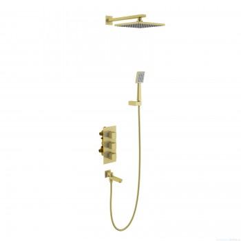 Душевая система встроенная с термостатом Timo Tetra-thermo (SX-0199/17SM) золото матовое